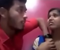 Indian girl kissing her boyfriend and showing her boobs and gets sucked